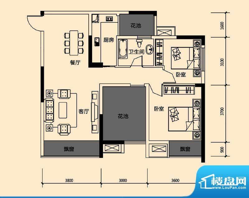 领地亚马逊三期3 3室面积:88.05m平米