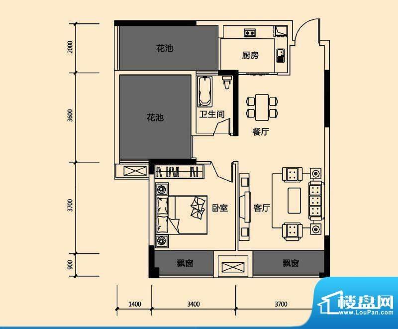 领地亚马逊三期4 2室面积:69.32m平米