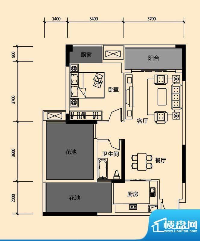 领地亚马逊三期1 2室面积:69.96m平米