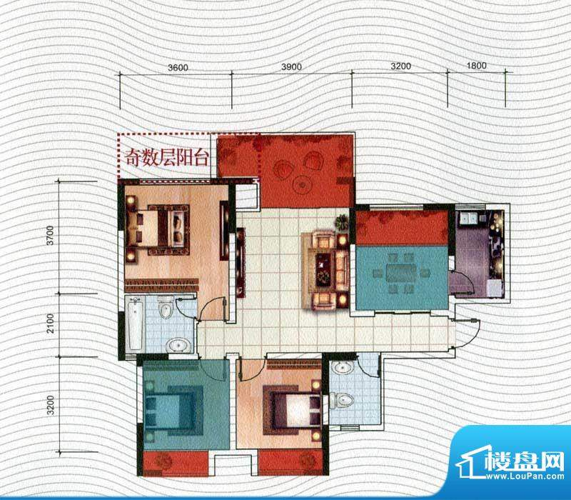 五洲汉唐B4型 3室1厅面积:89.40m平米