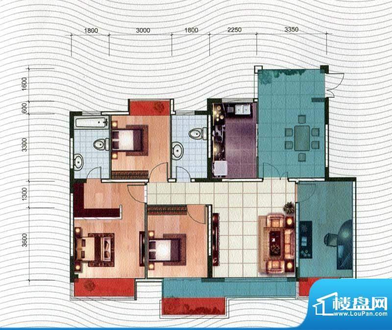 五洲汉唐C2型 3室1厅面积:127.50m平米