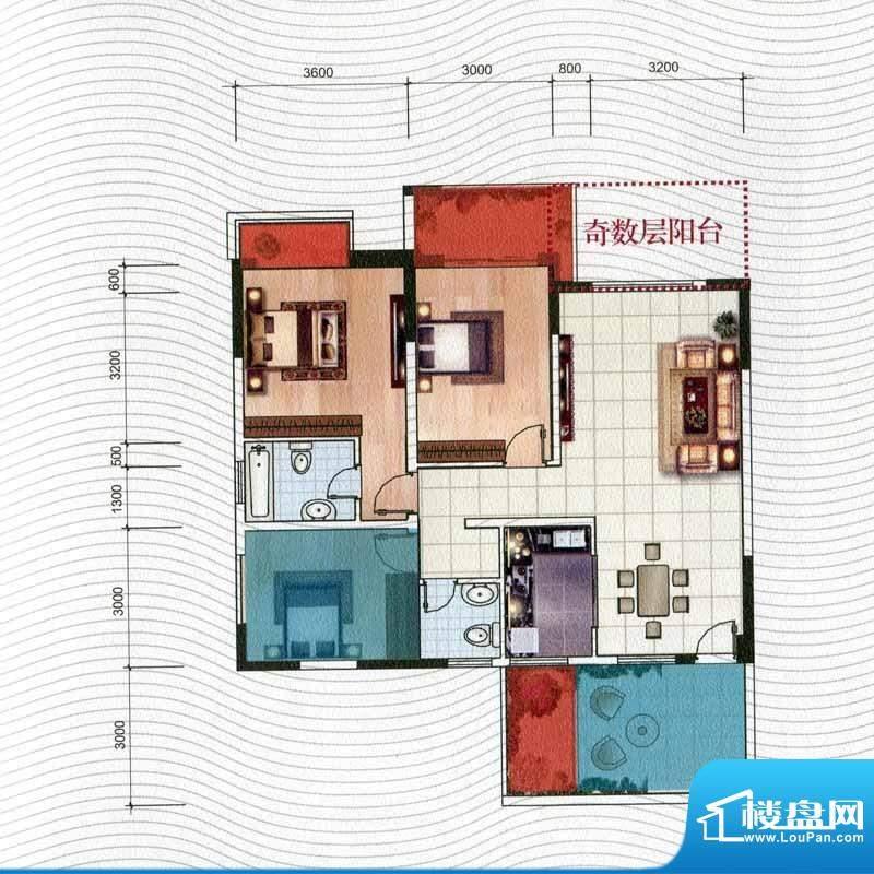 五洲汉唐C7型 3室2厅面积:109.65m平米