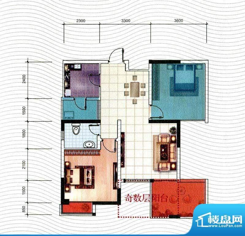 五洲汉唐B3型 2室2厅面积:74.12m平米