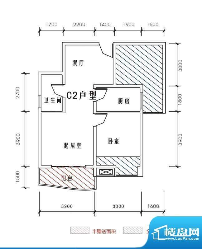 北城峰景C2 2室2厅1面积:68.25m平米