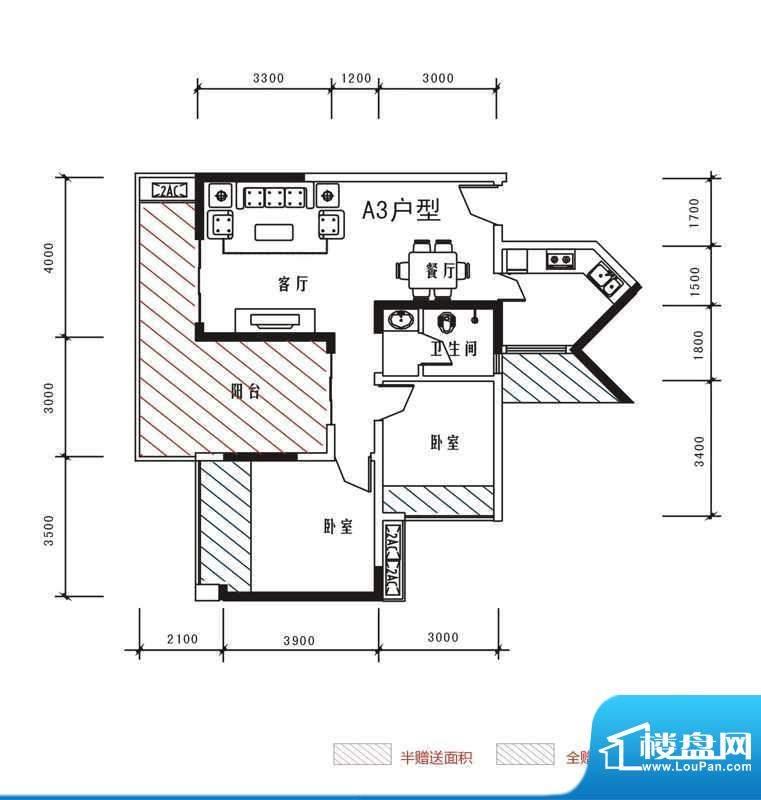 北城峰景A3 3室2厅1面积:88.00m平米