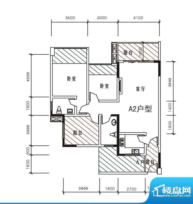 北城峰景A2 3室2厅2面积:97.94m平米