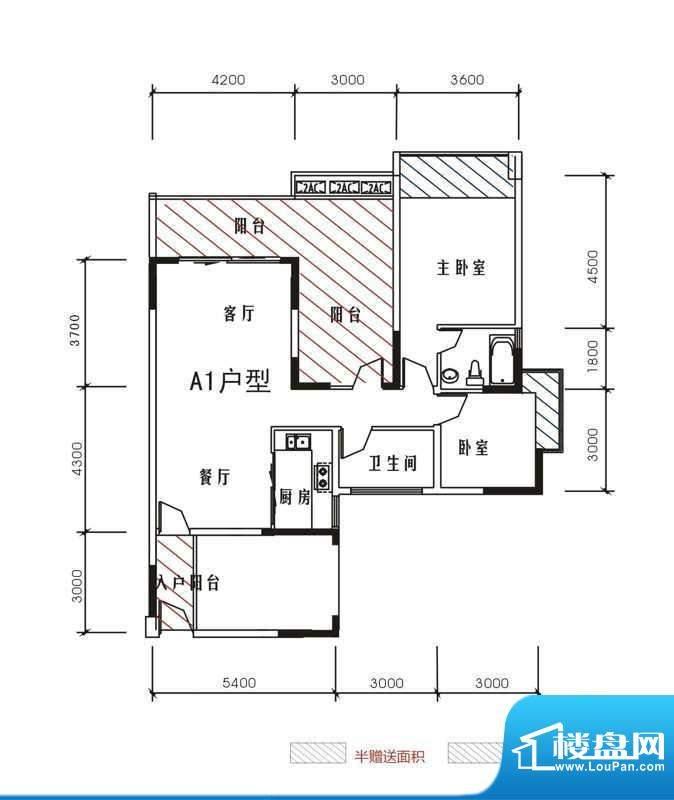 北城峰景A1 3室2厅2面积:107.04m平米