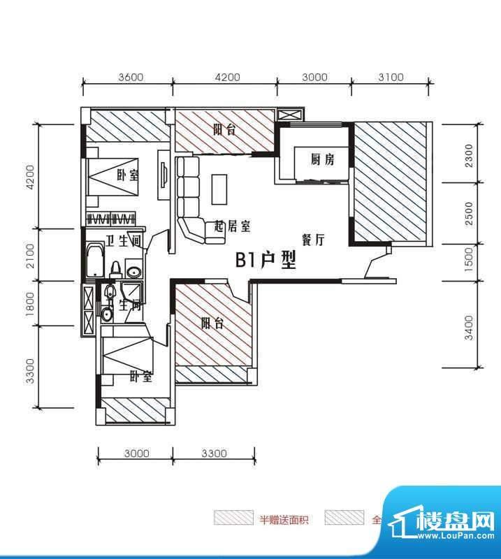 北城峰景B1 3室2厅2面积:105.87m平米