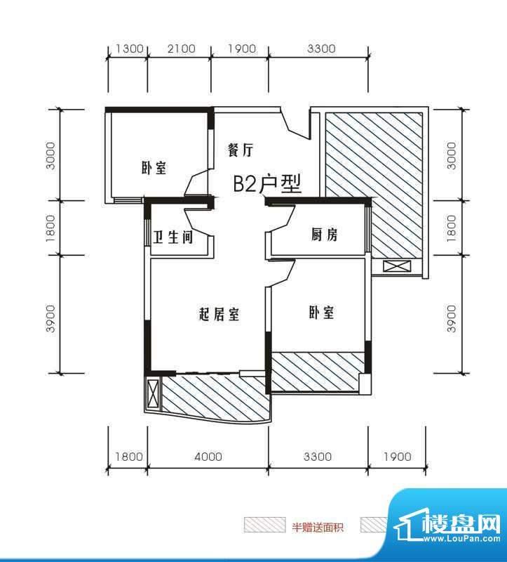 北城峰景B2 2室2厅1面积:78.28m平米