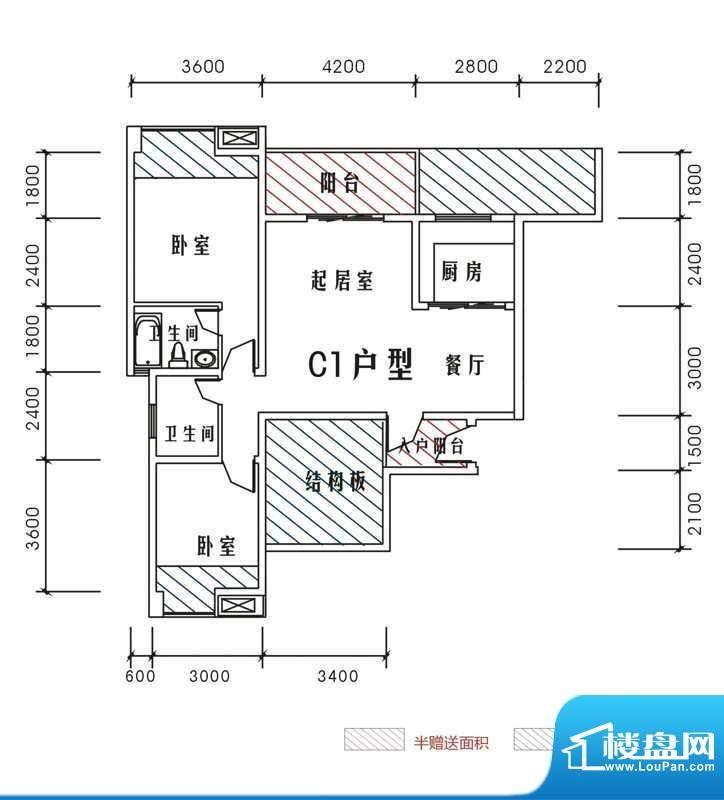 北城峰景C1 3室2厅2面积:97.56m平米