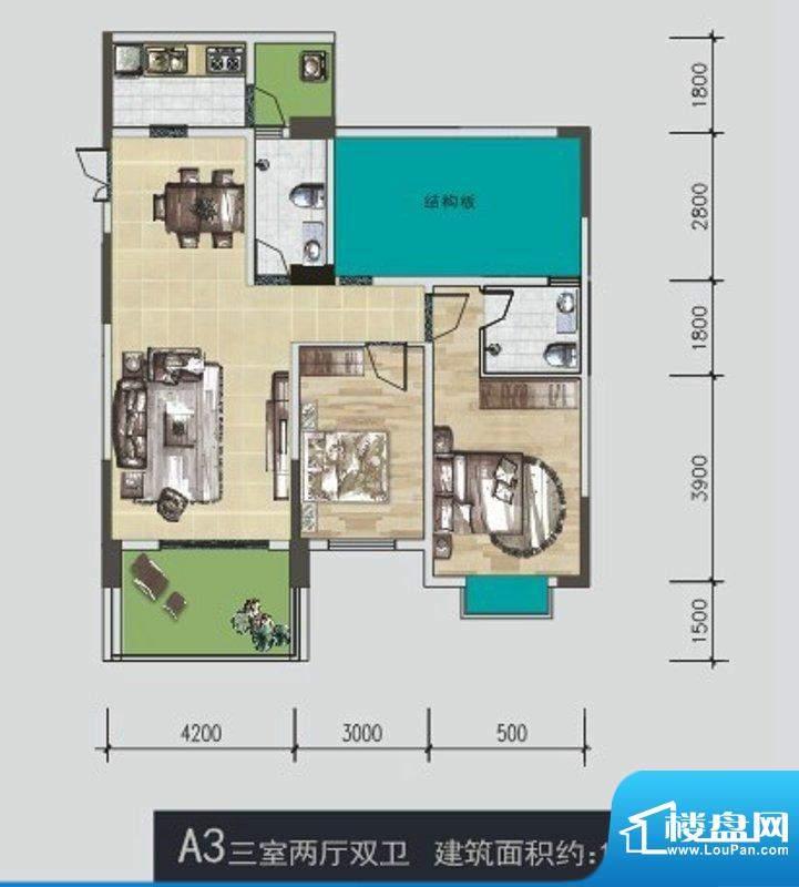 城际御风庭A3型 3室面积:102.70m平米