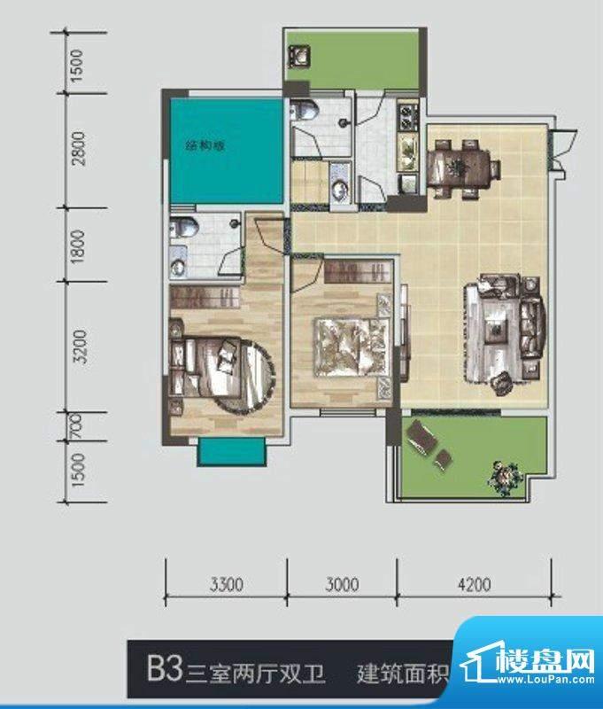 城际御风庭B3型 3室面积:99.60m平米