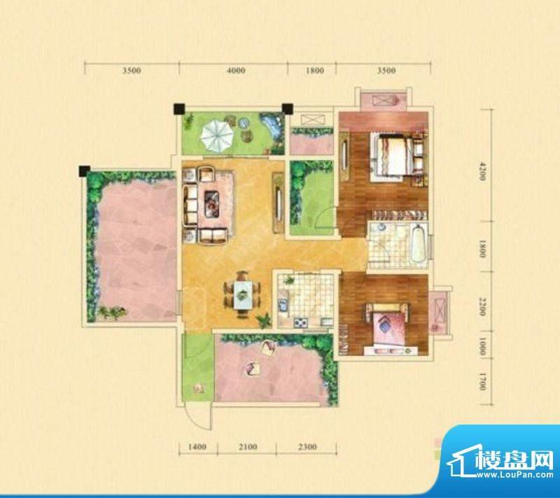 塞纳城邦A1户型 2室面积:87.24m平米