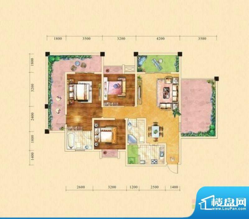 塞纳城邦A2户型 3室面积:113.11m平米