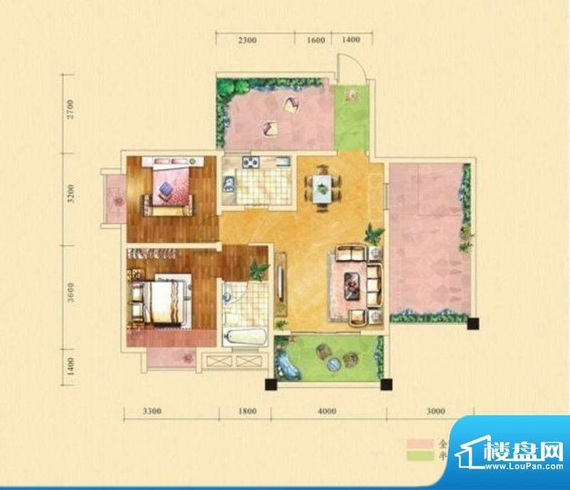 塞纳城邦C2户型 2室面积:79.85m平米
