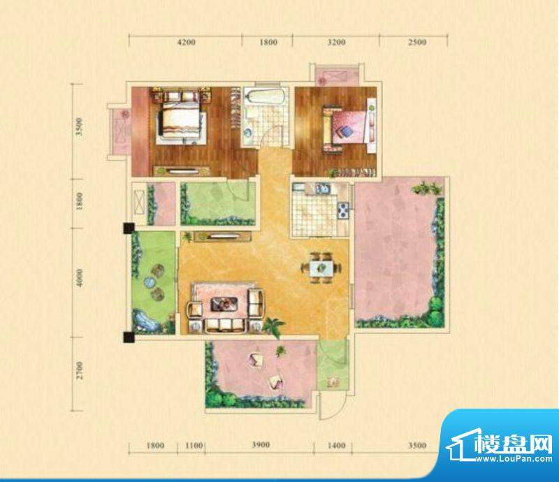 塞纳城邦C1户型 2室面积:89.79m平米
