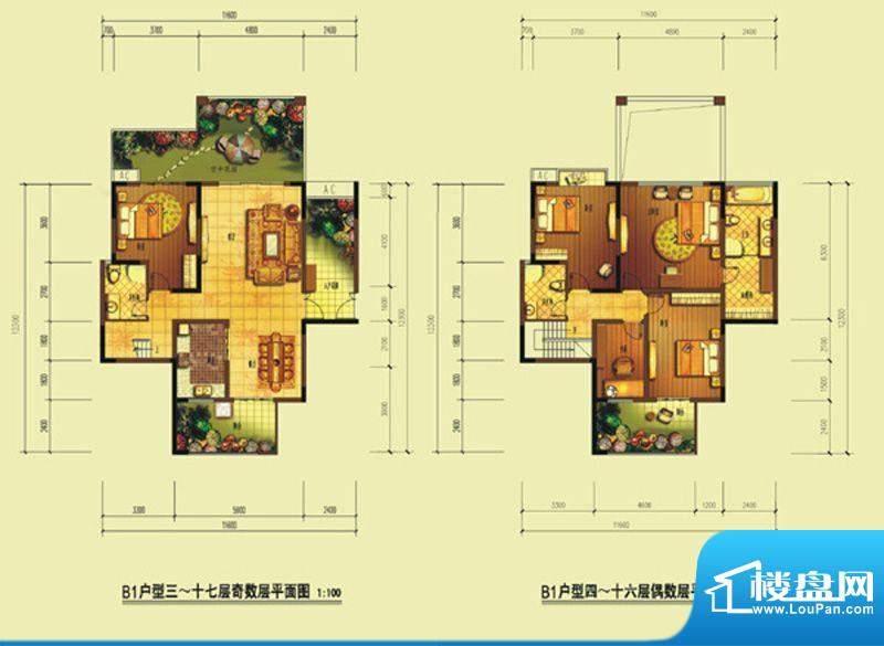 七星海棠B1型 4室2厅面积:175.64m平米