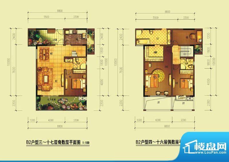 七星海棠B2型 3室2厅面积:130.88m平米
