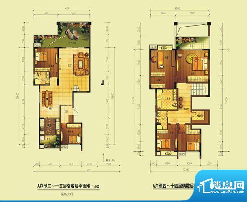 七星海棠A型 3室2厅面积:192.50m平米