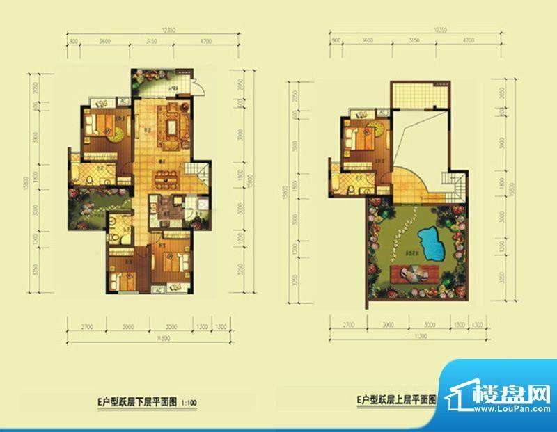 七星海棠E顶层 2室2面积:137.84m平米