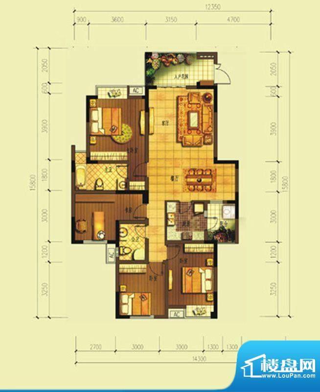 七星海棠E型 3室2厅面积:105.43m平米