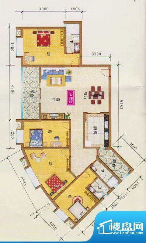 富地花园1栋户型2 4面积:231.56m平米