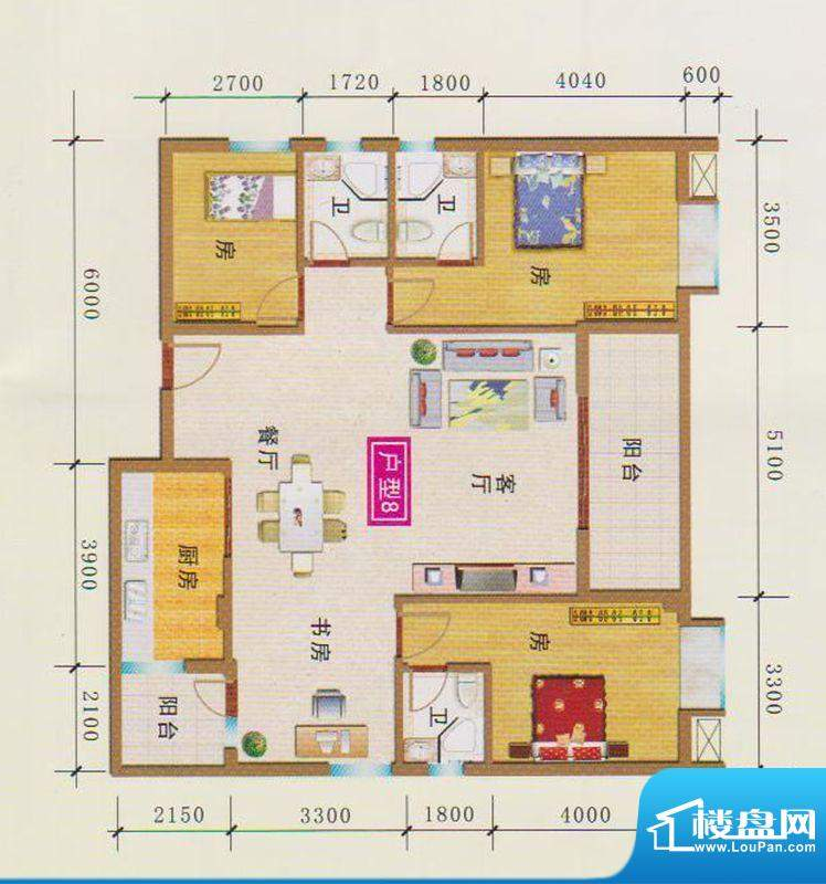 富地花园1栋户型8 3面积:146.69m平米