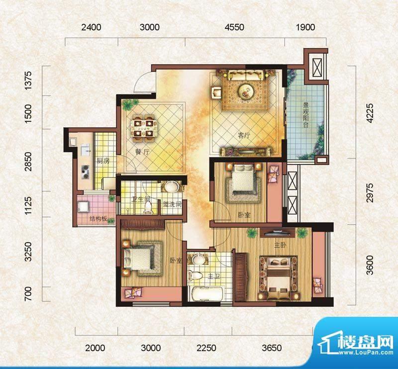 德胜·沫若公馆B5型面积:107.86m平米