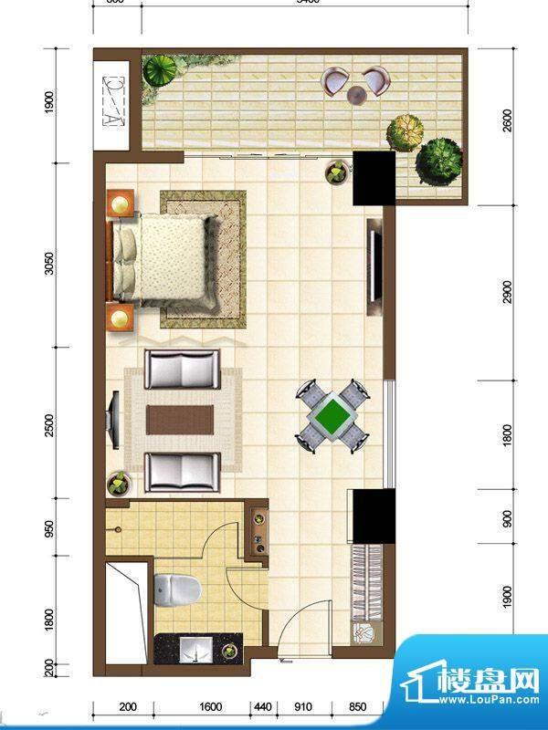 沙巴岛9#E户型 1室1面积:62.73m平米