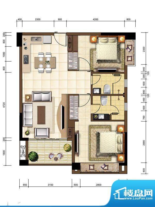 沙巴岛7#C户型 2室1面积:89.70m平米
