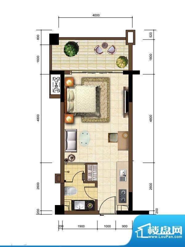 沙巴岛7#A户型 1室1面积:43.80m平米