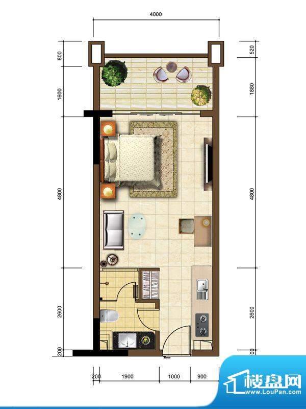 沙巴岛7#B户型 1室1面积:41.90m平米