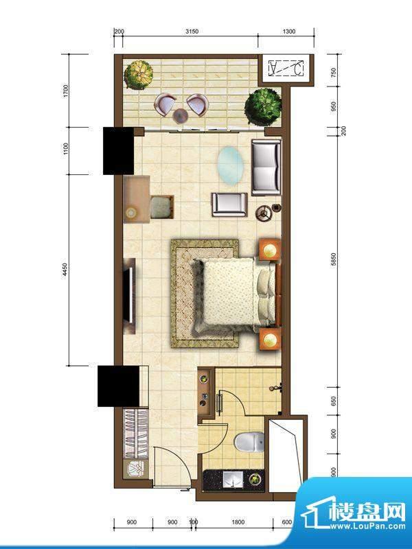 沙巴岛9#B户型 1室1面积:49.30m平米