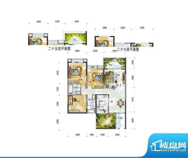 梅花城1-1-1户型 3室面积:0.00m平米