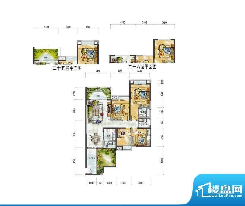 梅花城1-2户型 4室2面积:0.00m平米