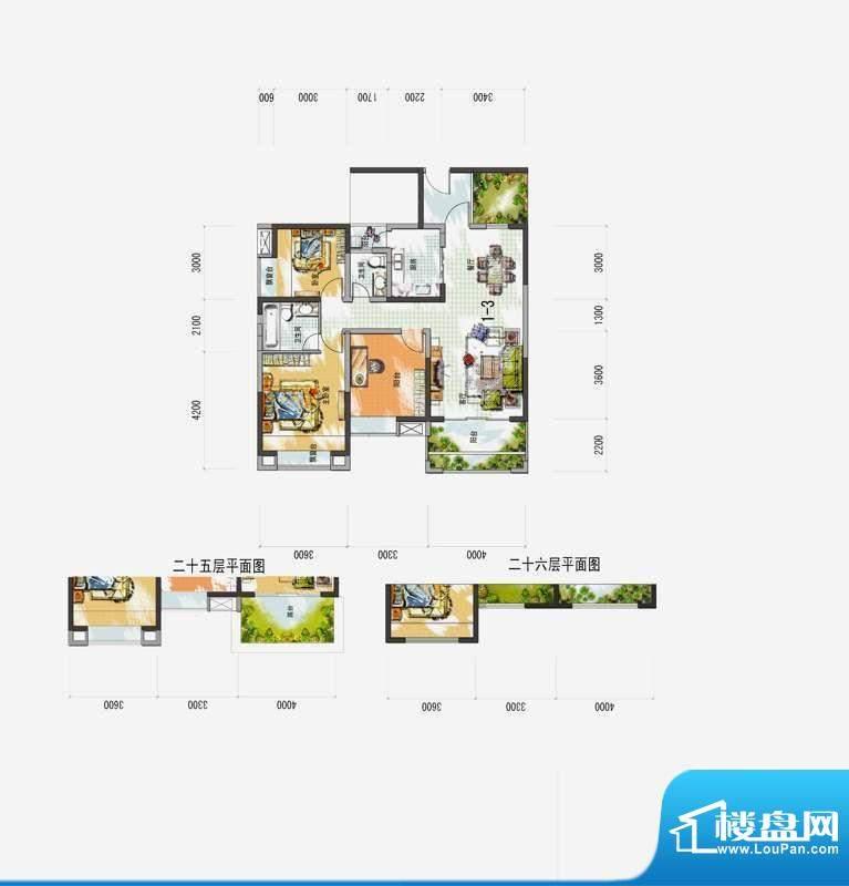 梅花城1-3户型 3室2面积:0.00m平米