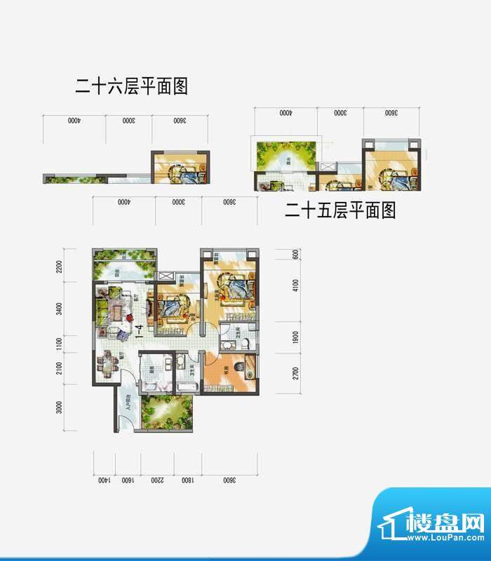 梅花城1-4户型 3室2面积:0.00m平米