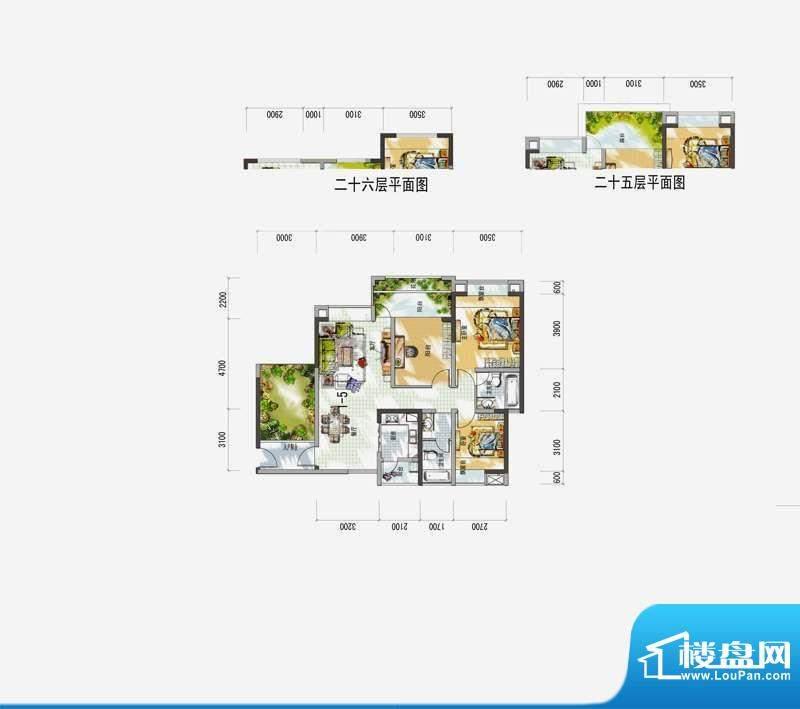 梅花城1-5户型 3室2面积:0.00m平米