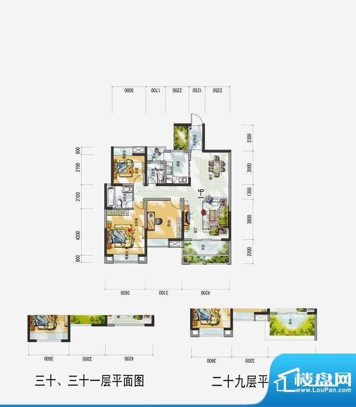 梅花城1-6户型 3室2面积:0.00m平米