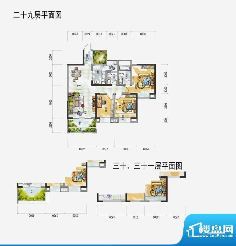 梅花城1-7户型 3室2面积:0.00m平米
