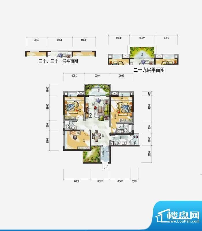 梅花城1-8户型 3室2面积:0.00m平米