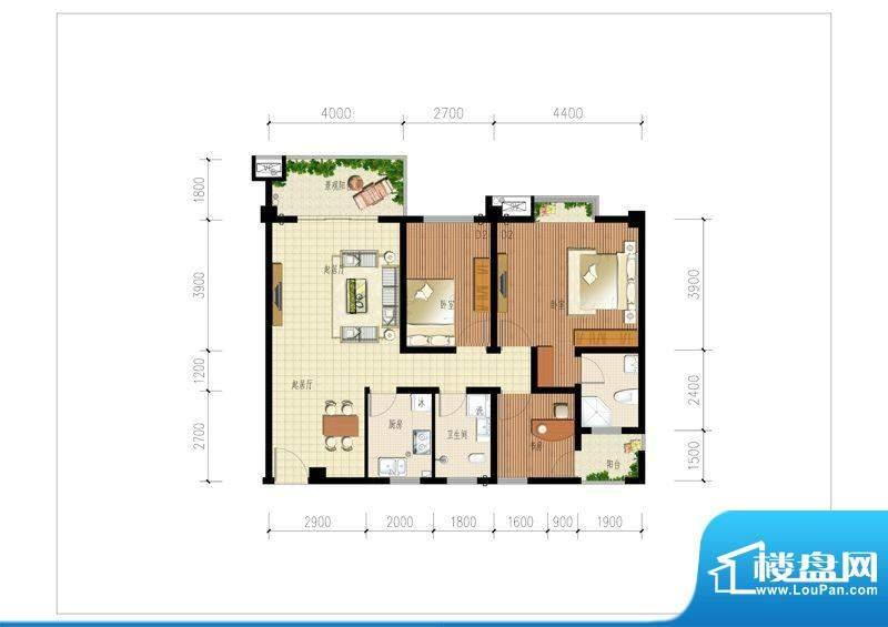 时代大厦户型1 3室2面积:103.00m平米