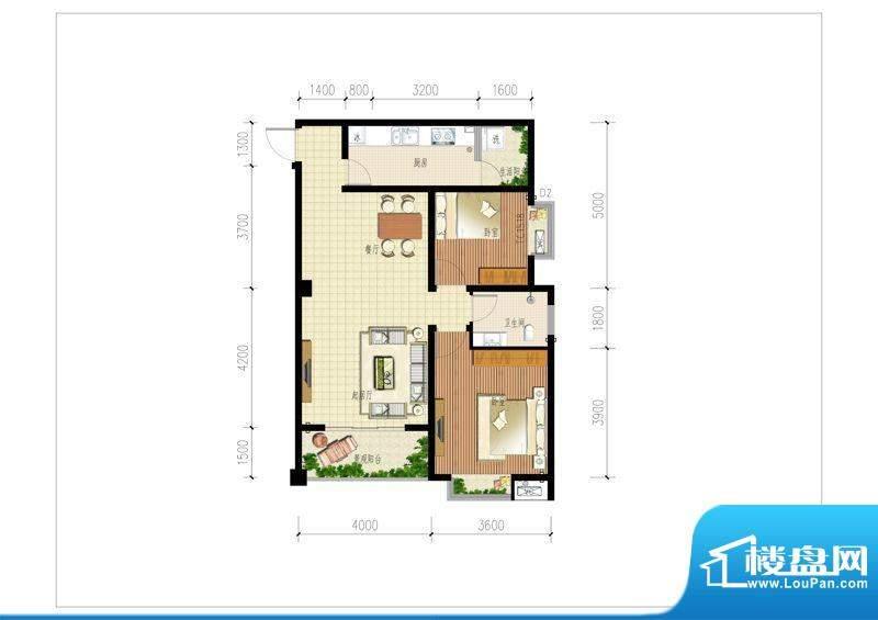 时代大厦户型2 2室2面积:85.00m平米