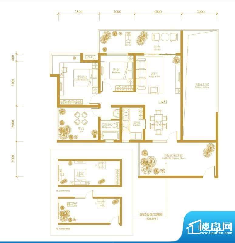 玉津花城2期A3型偶数面积:89.63m平米