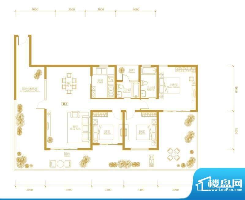 玉津花城2期b3型奇数面积:138.34m平米
