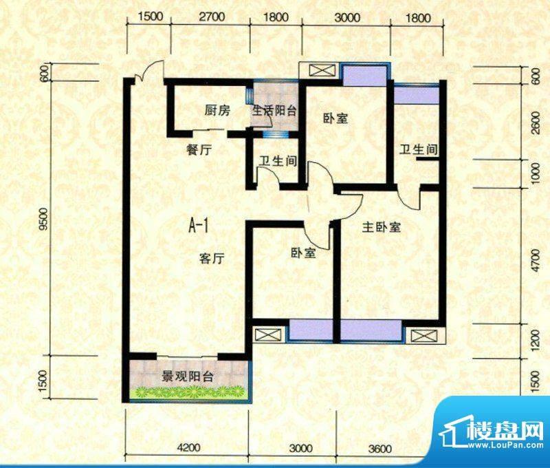 富瑞·华美金庄A1户面积:107.00m平米
