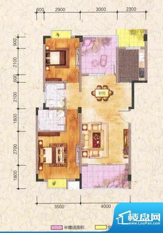 海棠香阁B型 2室2厅面积:92.27m平米