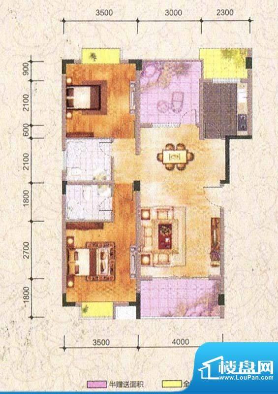 海棠香阁B1型 2室2厅面积:92.27m平米