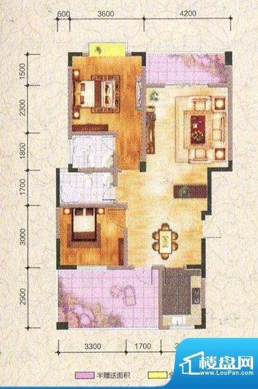 海棠香阁A型 2室2厅面积:100.21m平米