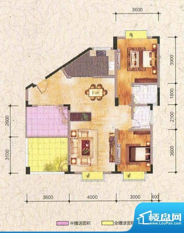 海棠香阁C1型 2室2厅面积:105.59m平米